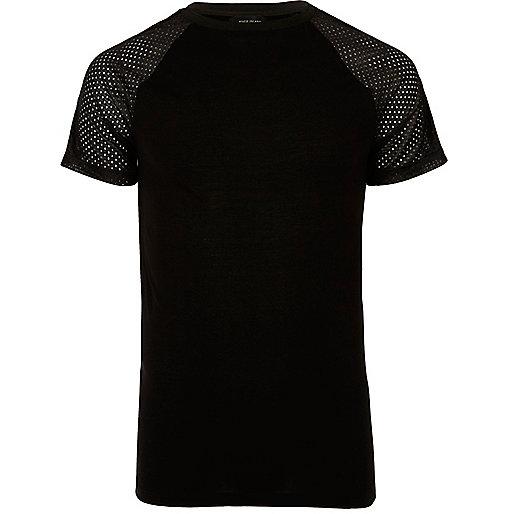 Black mesh raglan sleeve T-shirt