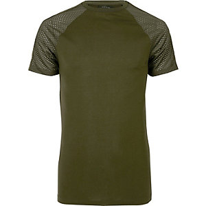 Dark green mesh raglan sleeve T-shirt