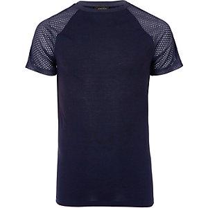Marineblaues T-Shirt mit Raglanärmeln