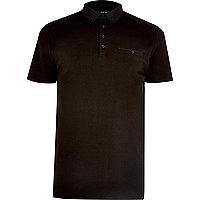 Black chest pocket polo shirt