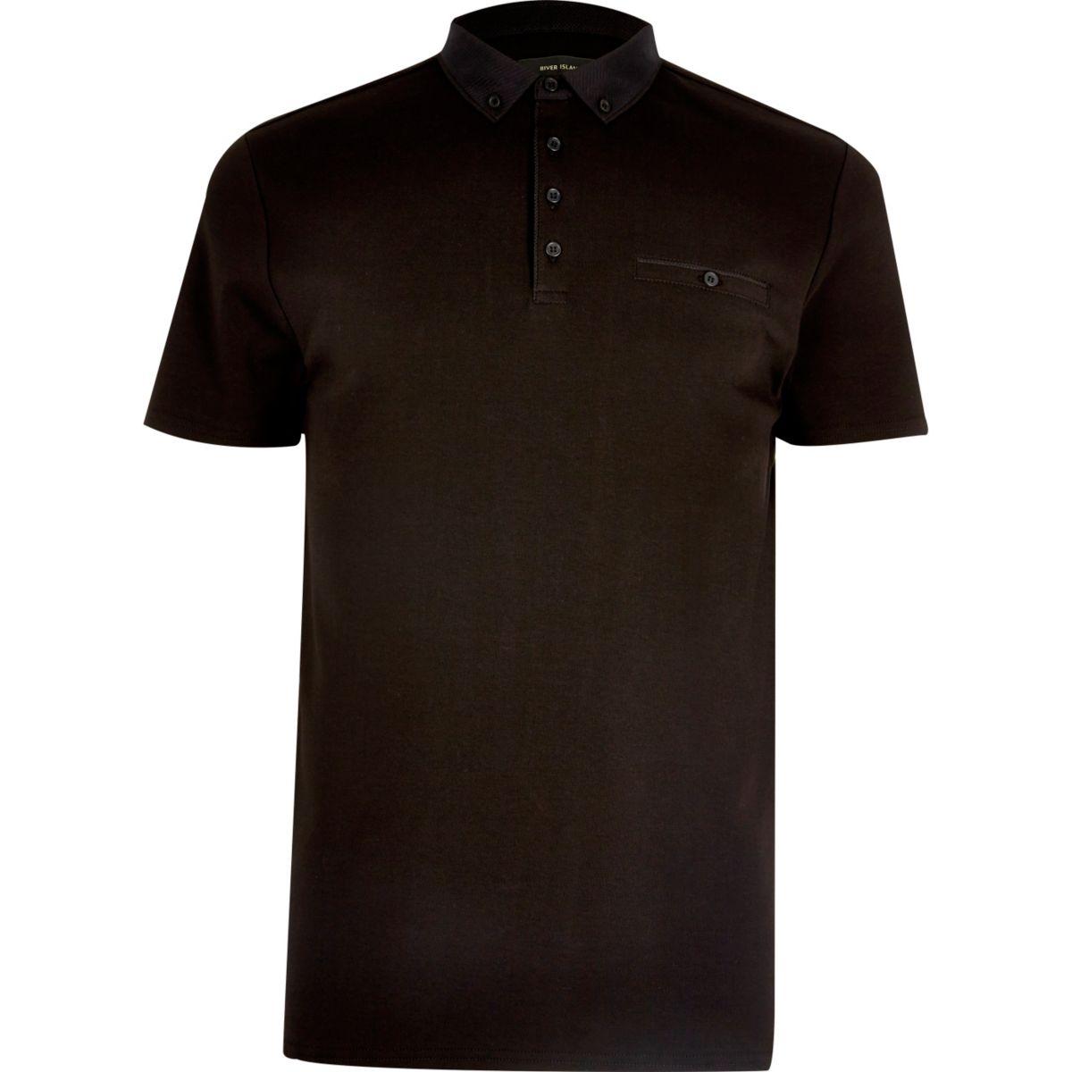 Schwarzes Poloshirt mit Brusttasche