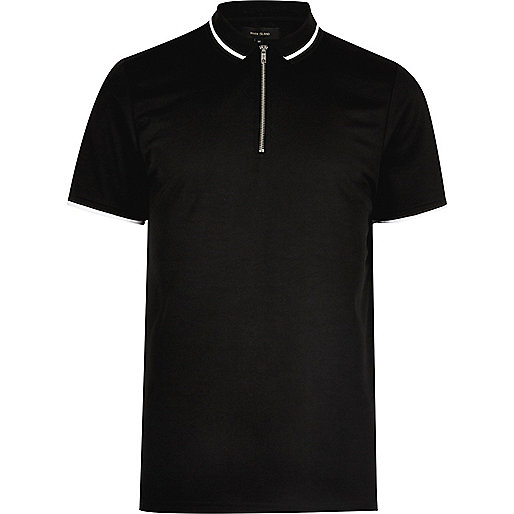 Black zip placket polo shirt