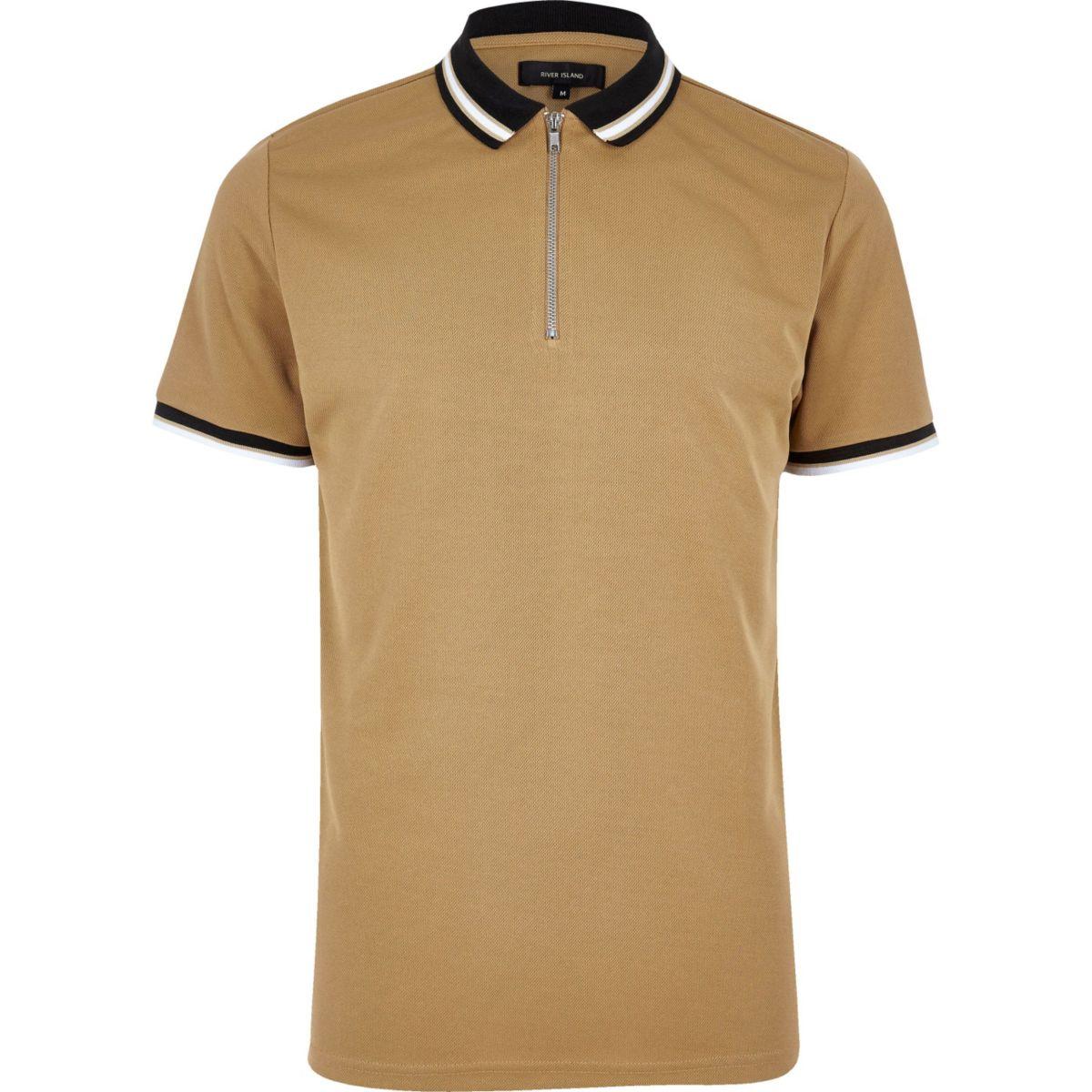 Camel brown zip placket polo shirt