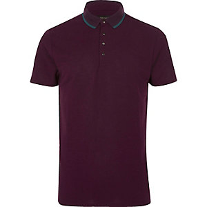 Purple short sleeve polo shirt