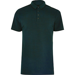 Dark green sports polo shirt