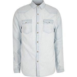Chemise en jean bleu clair délavé style western