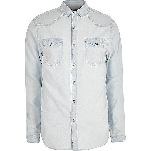 Light blue bleached denim western shirt