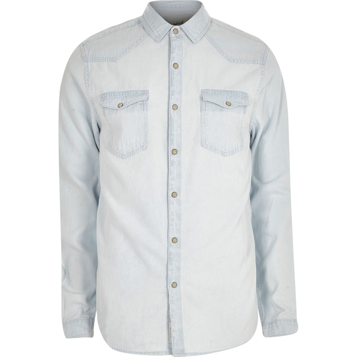 Light blue bleached denim western shirt