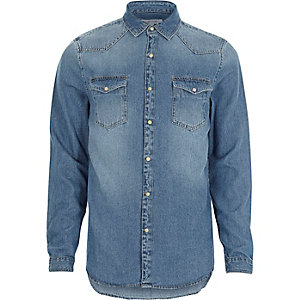 Blauw washed casual denim overhemd in Westernstijl