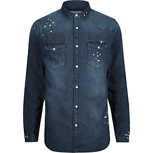 Dark blue wash paint splatter denim shirt