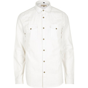 White slim fit denim shirt