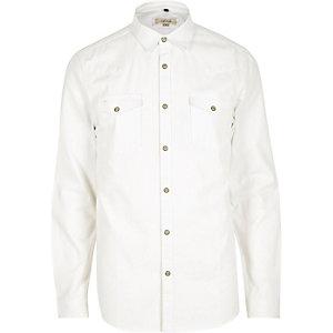 Wit denim slim-fit overhemd