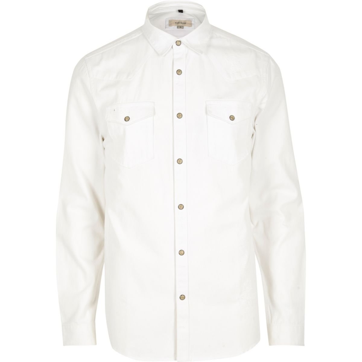 White slim fit denim shirt