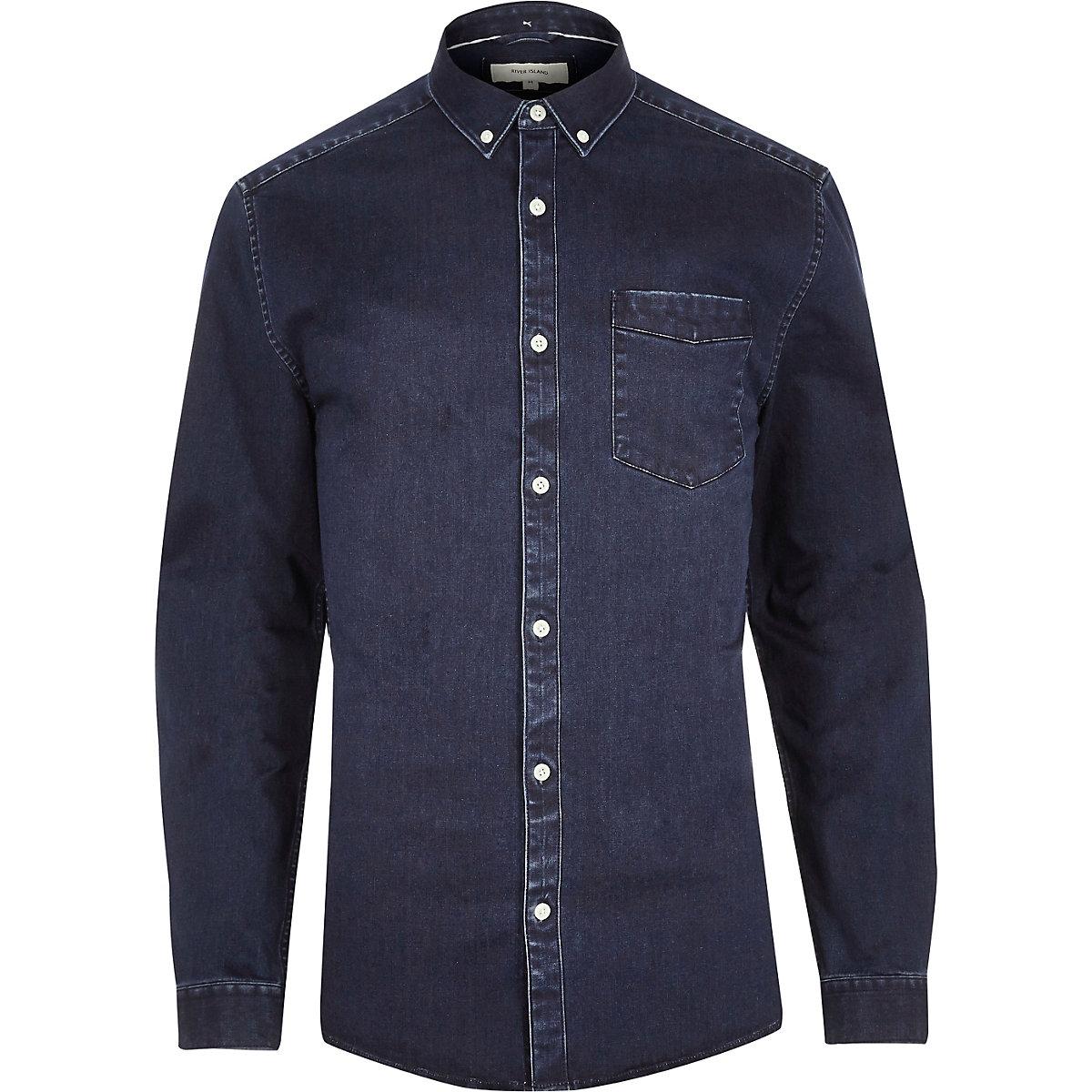 Indigo blue muscle fit denim shirt