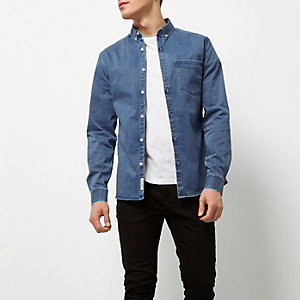 Blue wash muscle fit denim shirt