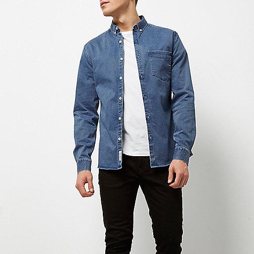 Blue wash muscle fit denim shirt