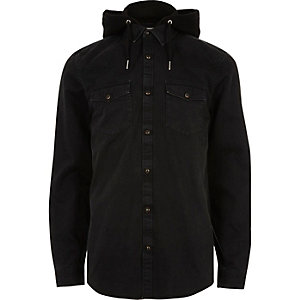 Black hooded denim shirt