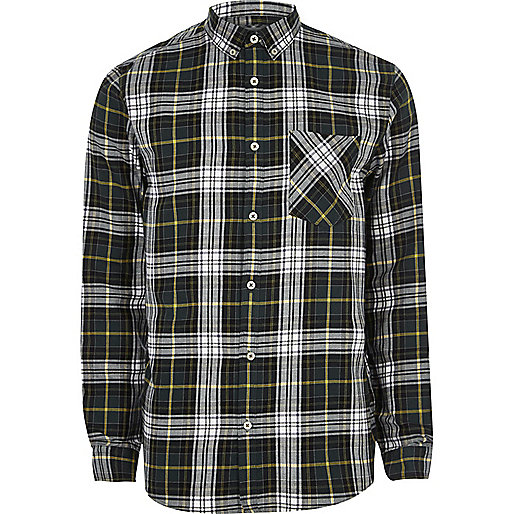 Green and white casual check shirt