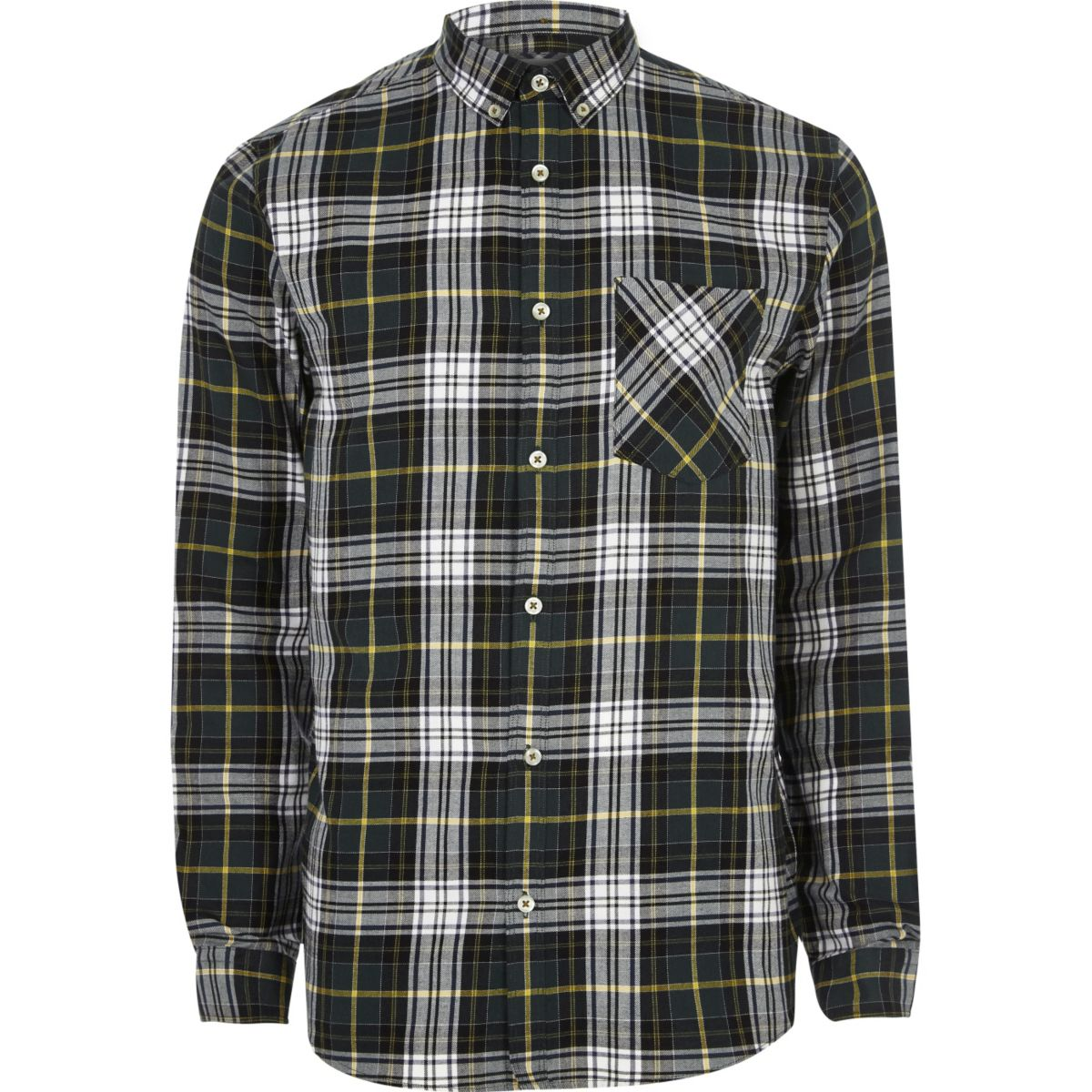 green and white casual check shirt shirts sale men