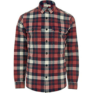 Red check twill shirt