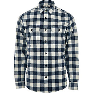 Blue twill check shirt