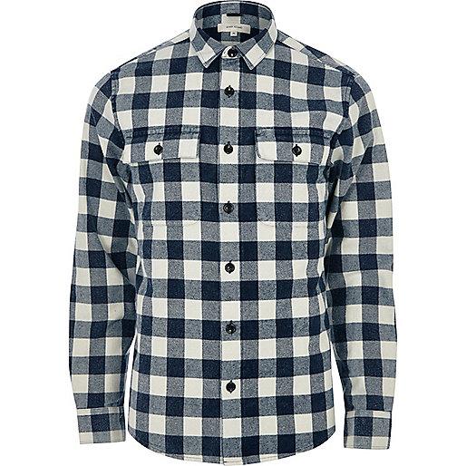 Blue twill check shirt