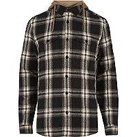 Chemise grège à carreaux et capuche