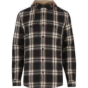 Stone check hooded shirt