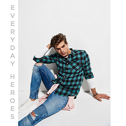 Teal buffalo check shirt