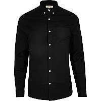 Black casual skinny fit Oxford shirt
