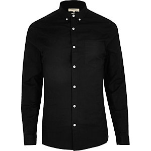 Chemise Oxford coupe skinny casual noire