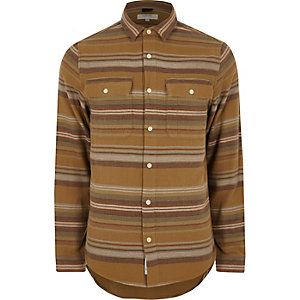 Camel aztec striped shirt