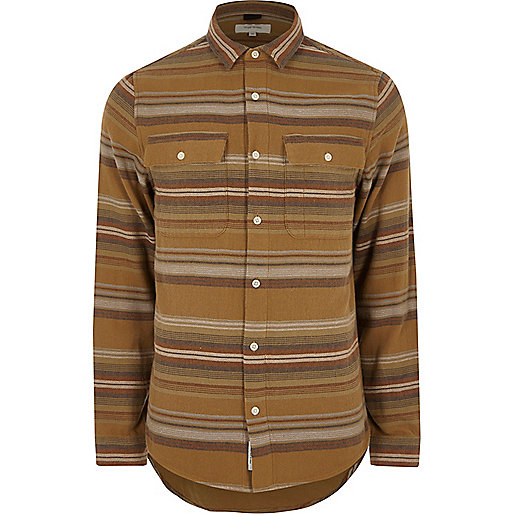 Camel aztec striped shirt