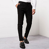 Black flecked skinny fit trousers