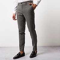Grey wool blend skinny fit pants
