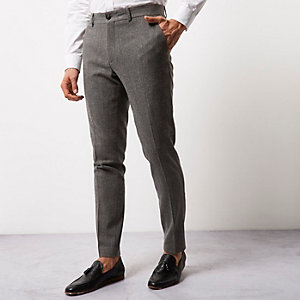 Grey wool blend skinny fit trousers