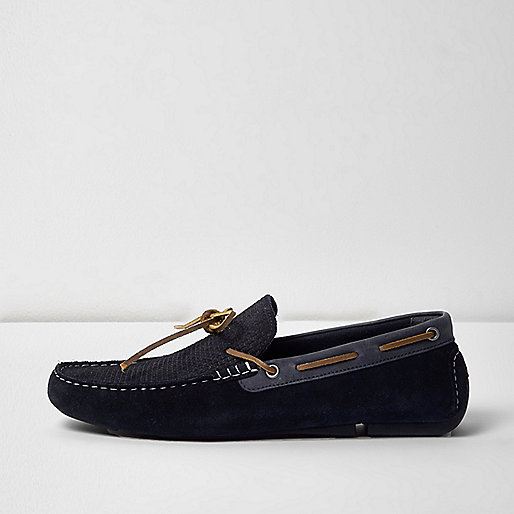 Navy blue mixed suede driver shoes