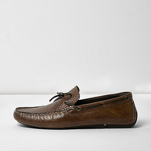 Brown leather driver shoes