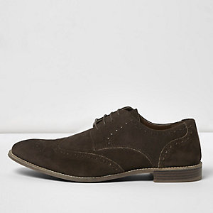 Dark brown suede brogues