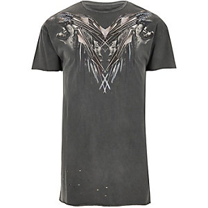 Grey distressed wolf print T-shirt