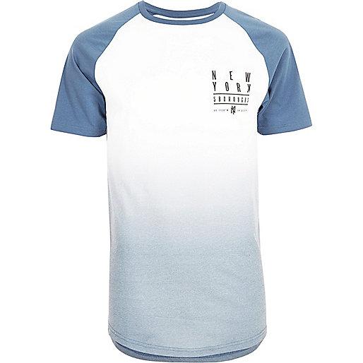 Blue faded print raglan T-shirt