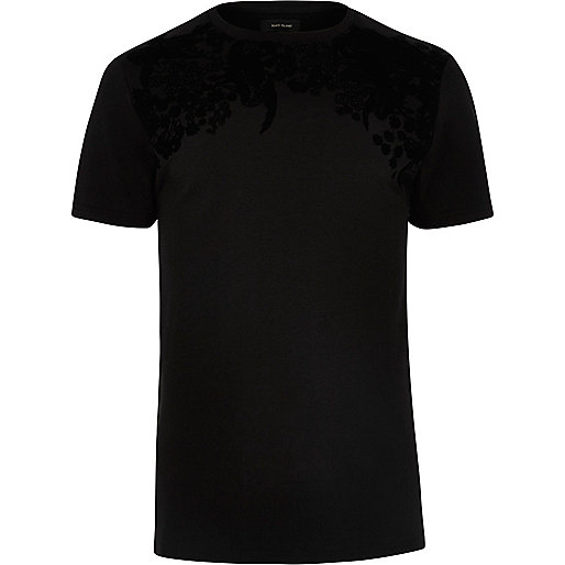 Black flocked print T-shirt