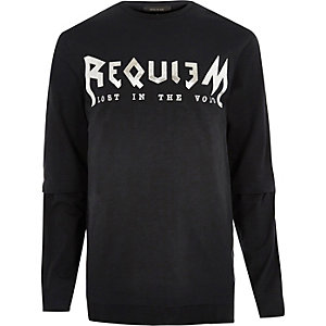 Black tour print long sleeve T-shirt