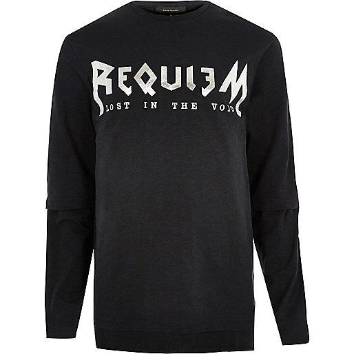 Black tour print long sleeve T-shirt
