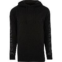 Black sleeve print hoodie