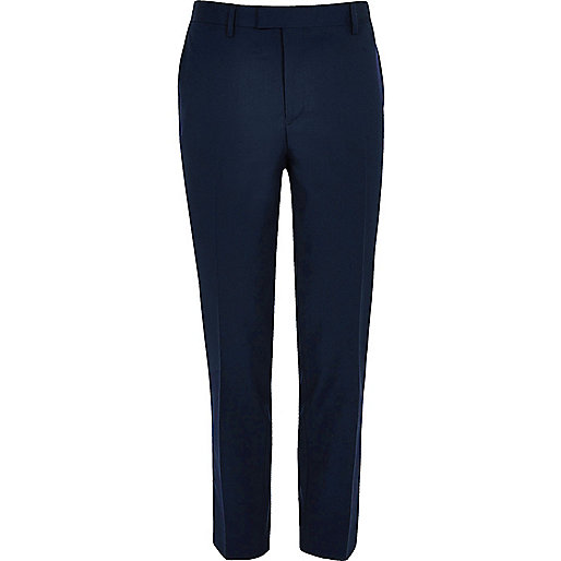 Navy smart skinny suit pants