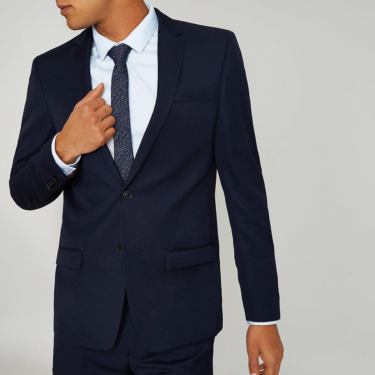 Navy slim fit suit jacket