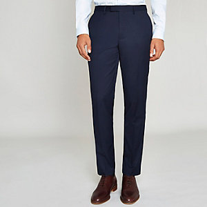 Marineblauwe slim-fit pantalon