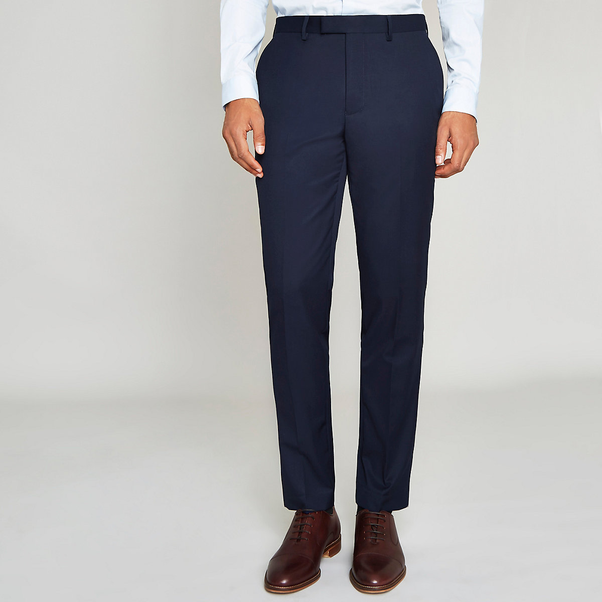 Navy blue slim fit suit trousers