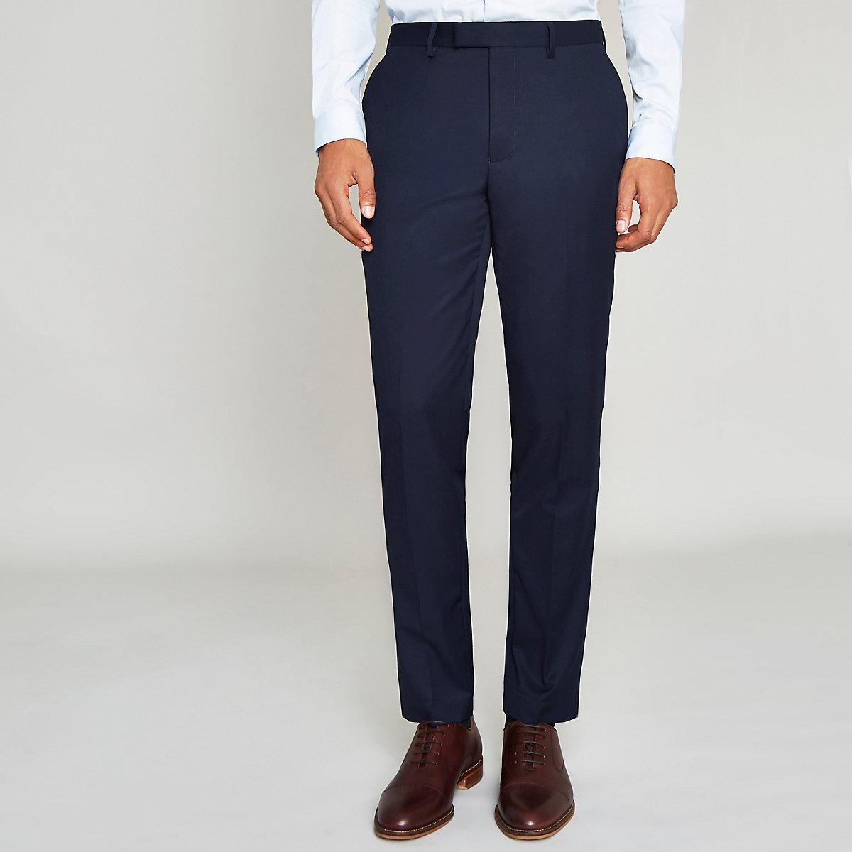 Navy blue slim fit suit pants